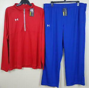 UNDER ARMOUR WARM UP SUIT 12 ZIP JACKET + PANTS RED ROYAL BLUE NEW (SIZE 3XL)