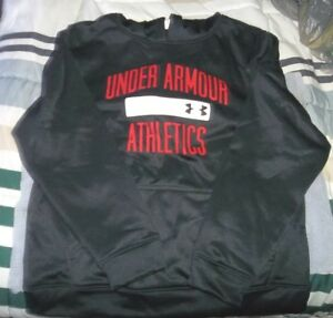 New Boy's Youth Large Under Armour Black Compression Fit HoodieBlack wRed