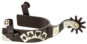 Kelly Silver Star Deck of Cards Spurs with  10 Point Rowel - Brown