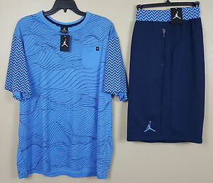 NIKE JORDAN RETRO 12 OUTFIT SHIRT + SHORTS NAVY CAROLINA BLUE NEW (SIZE 3XL 2XL)