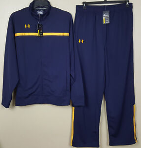 UNDER ARMOUR BASKETBALL WARM UP SUIT JACKET + PANTS NAVY BLUE GOLD NEW (SIZE XL)