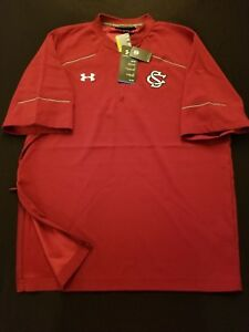 New Mens South Carolina Gamecocks Under Armour Red Loose 14 Zip Top Size M XL