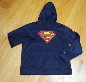 UNDER ARMOUR Boys large ColdGear Loose Alter Ego Superman Storm Hoodie YLG Blue