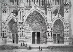 FRANCE Amiens Cathedral Western Portal - SUPERB 1843 Antique Print