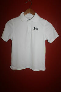 Under Armour Heat Gear Loose Youth White Polo Shirt Size YSM