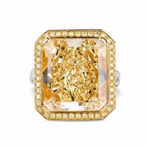 GIA 20.74 Ct Radiant Cut Fancy Yellow Diamond Engagement Ring VS2 18K White Gold
