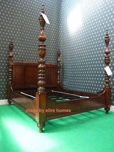 UK STOCK~ 5' King  size Mahogany Dutch Style Designer Four Poster canopy Bed