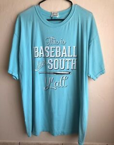 Gently Preowned This Is Baseball Down South Y'all Light Blue T Shirt 2XL $9.99