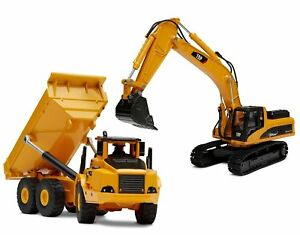 Top Race Diecast Metal Construction Trucks Heavy Metal Excavator and Dump