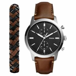 Fossil Townsman Chronograph Leather Strap Watch and Bracelet Set FS5394SET