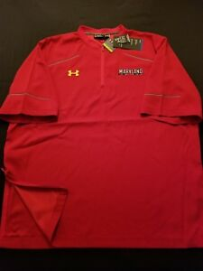 New Men's Maryland Terrapins Under Armour Red Loose 14 Zip Top Size XL