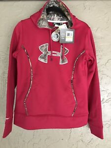 Under Armour Womens Storm1 Hoodie Sweatshirt Red with Realtree Camo Trim SMALL