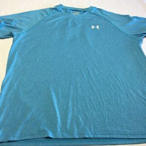 UNDER ARMOUR Mens Athletic Shirt Size XL Blue Loose Fit HEAT GEAR Quick Dry