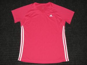 Adidas ATS Dry 3 Stripes Running Workout Athletic Fitness Shirt Womens XL Pink