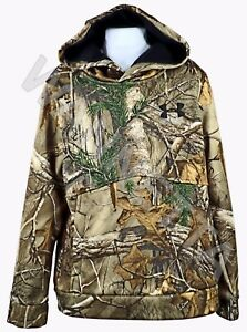 Under Armour UA Youth Camo Hoodie Fleece Lined Pullover Real Tree Xtra NEW Flaw