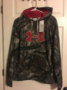 New Under Armour Mossy Oak camo & red Cold Gear fleece Hoodie Women's large