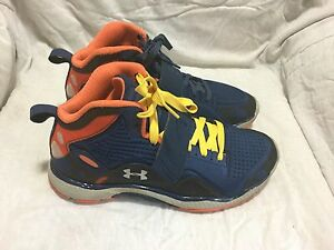 UNDER ARMOUR BASKETBALL SHOES - BLUE ORANGE GREY - ( SIZE 7Y ) YOUTH