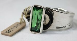 Uno De 50 Silver Tone Brown Leather Aurora Borealis Bracelet $199
