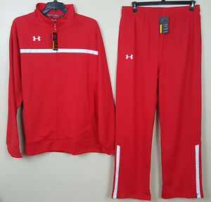 UNDER ARMOUR BASKETBALL WARM UP SUIT JACKET +PANTS RED WHITE RARE NEW (SIZE 3XL)