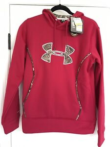 Under Armour Womens Storm1 Hoodie Sweatshirt Red with Realtree Camo Trim MEDIUM