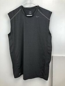 Nike FIT Dry sleevless compression workout shirt sz XL gray athletic fitness