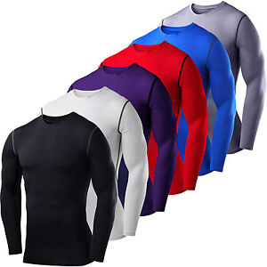 Mens Compression Base Layer Top T shirt Thermal Long Sleeve Under Shirt Body Tee $14.53