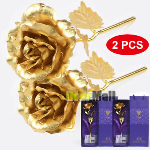 2 Pcs x 24K Gold Rose Dipped Foil Plated Valentine's Mother's Father's Day Gift