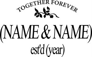 Together Forever Love Custom Name Wall Decals Stickers
