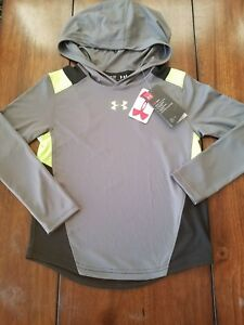 NWT UNDER ARMOUR Heat Gear Boys Long Sleeve Shirt Hoodie GreyNeon Green Sz 7-8