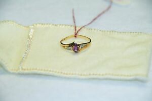 Purple Amethyst Gemstone with Diamonds 10k Yellow Gold Ring Size 5