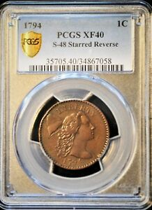 1794 1c Liberty Cap Large cent Starred Reverse S-48R5 PCGS graded 40.