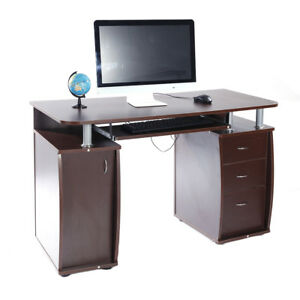 Home Office Computer PC Desk Study Table Workstation 3 Drawers Brown Furniture