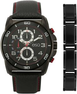 ESQ Chronograph Leather Strap Men's Watch and Stainless Steel Bracelet Set
