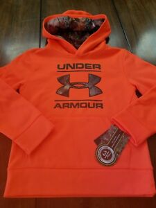 NWT UNDER ARMOUR Boy Realtree Fleeced Long Sleeve Shirt Hoodie Magma Orange Sz 6