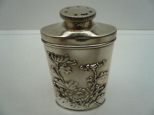 Chinese Export Silver Talcum Powder Flask Shaker Wang Hing c.1900