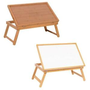 Adjustable Wood Bed Tray Lap Desk Serving Table Food Dinner White Wood Plank