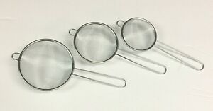 Stainless Fine Mesh Strainer Flour Colander Sifter Sieve w Handle 3 Small Sizes
