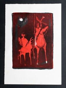 Genuine NISSAN ENGEL Don Quixote Horses LIthograph. Signed 4150. Beautiful!
