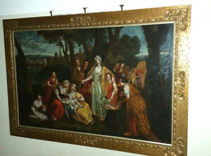 Large 17th Century Italian Biblical Judaica Painting Moses from the Nile
