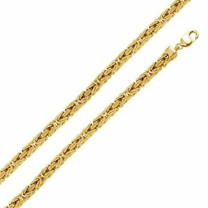 Men Women 7.8mm 14K Gold Plated Silver Italian Necklace Hollow Byzantine Chain
