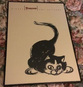 RARE PINOCCHIO Figaro Cat FRAMED  POSTER 1993 DISNEY ART EDITIONS 28 X 20