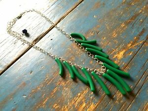 Green Fringe Necklace - vintage lucite drop statement piece - Adjustable silver