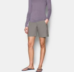 Under Armour Heat Gear Storm Fitted Pewter Shorts Womens 10 Golf Fish Hiking NWT