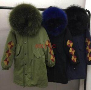 Womens Winter Fur Collar Hooded Embroidery Down Coat Slim Fit Outwear Parkas New