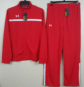 UNDER ARMOUR BASKETBALL WARM UP TRACK SUIT JACKET + PANTS RED NEW (SIZE LARGE)