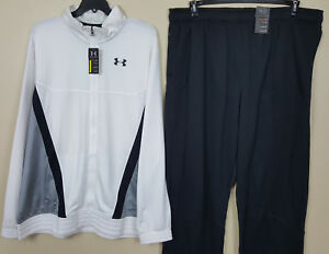 UNDER ARMOUR BASKETBALL WARM UP SUIT JACKET + PANTS WHITE BLACK NEW (SIZE 4XL)