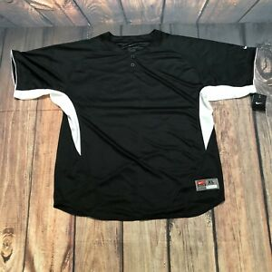 Nike Team Dri Fit Shirt Black & White Sz XL NWT Pull Over Two Button Up