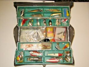 Antique Kennedy Fishing Tackle Box With Lures Rapala Little Cleo 1960's