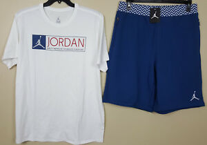 NIKE JORDAN XII 12 OUTFIT SHIRT + SHORTS WHITE FRENCH BLUE RARE NEW (SIZE 2XL)