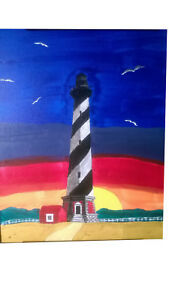 Original 11x14 Cape Hatteras Lighthouse Signed Acrylic Painting $77.00